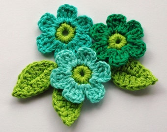 Crochet Flowers in Mint and Lime Green