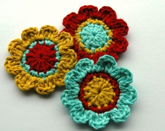 Crochet Flowers in Red, Aqua and Mustard