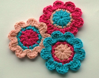 Crochet Flowers in Turquoise, Hot Pink and Pale Pink