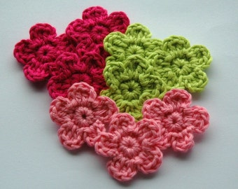 Crochet Flowers in Pink and Lime Green x 9
