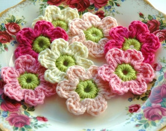 Crochet Flowers in Pink and Cream  x 8