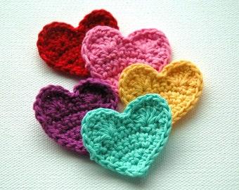 Crochet Hearts Pink Red Aqua Yellow Purple