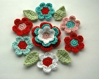 Crochet Flower Applique set in Red and Aqua