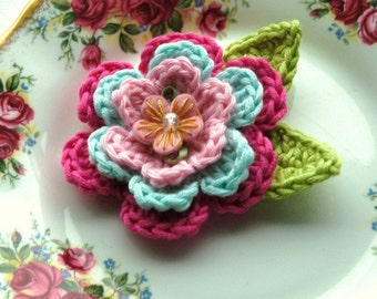 Crochet Flower in Pink and Duck-egg blue