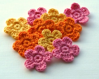 Crochet Flowers in pink, yellow and orange x 9