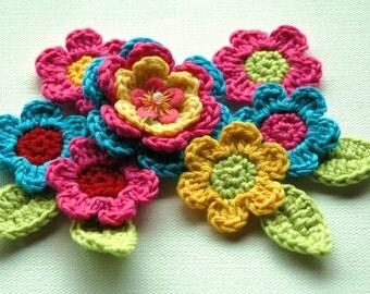 Crochet Flower Applique Set - Pink Turquoise Yellow