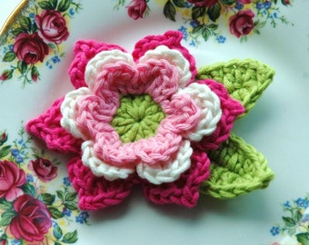 Crochet Flower in Pink and Cream