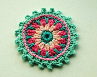Large Crochet Embellishment in pink and aqua blue  x 4""