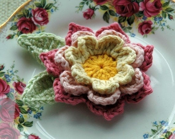 Organic Cotton Crochet Flower in Pink and Yellow