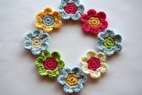 Crochet Applique Flowers in Bamboo/cotton