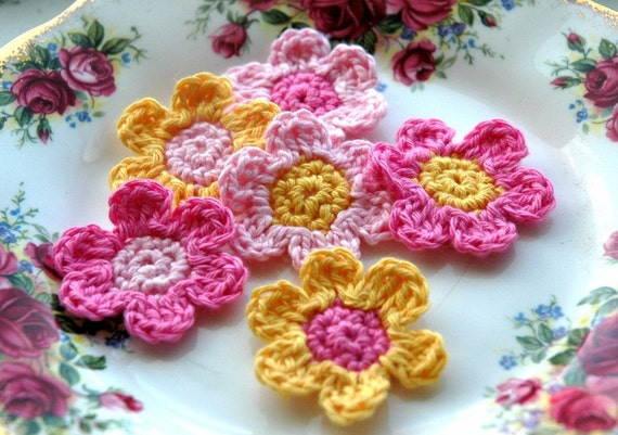 Crochet Flowers in Pink and Yellow
