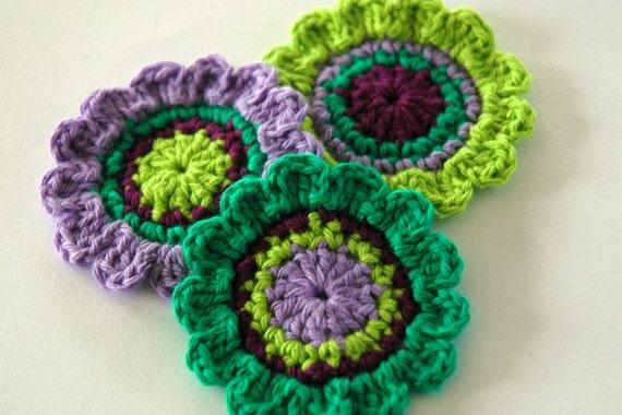 Crochet Applique Motifs in Purple and Green