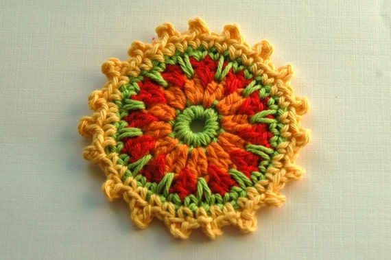 Crochet Embellishment /Coaster in Yellow, Lime, Red and orange