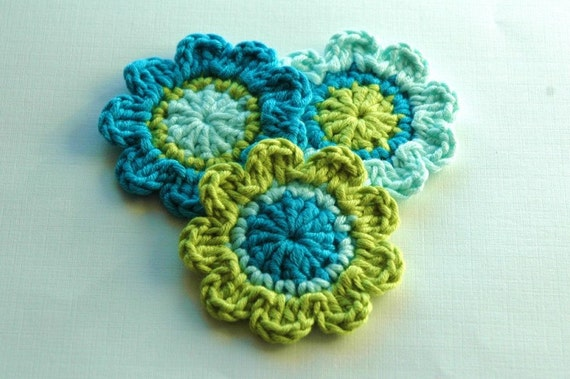 NEW Crochet Flowers in Duck egg blue, Turquoise and Lime