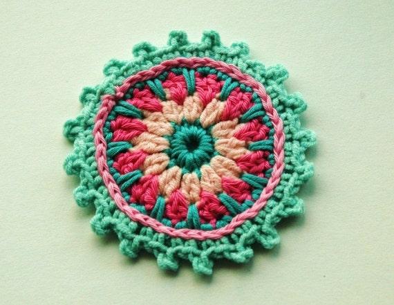 "Large Crochet Embellishment in pink and aqua blue  x 4"""