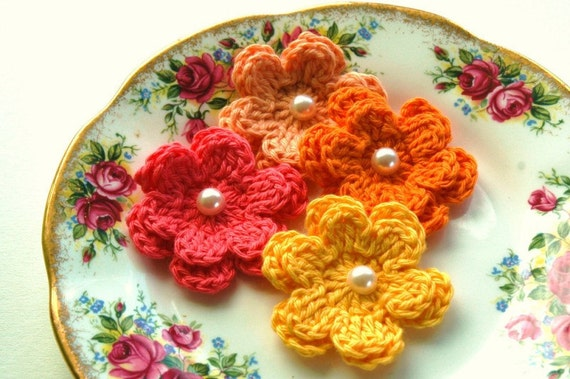 Crochet Flowers in Yellow, Tangerine with Pearl