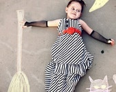 PRE-ORDER- Halloween Stripe Maxi Dress with Rosette Belt