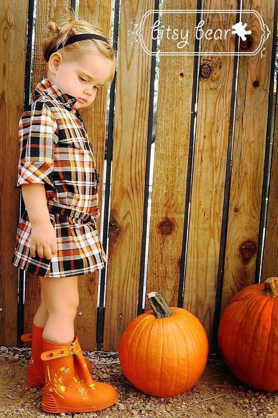 PRE-ORDER- Halloween Plaid Tie Dress for baby, toddler, and girl
