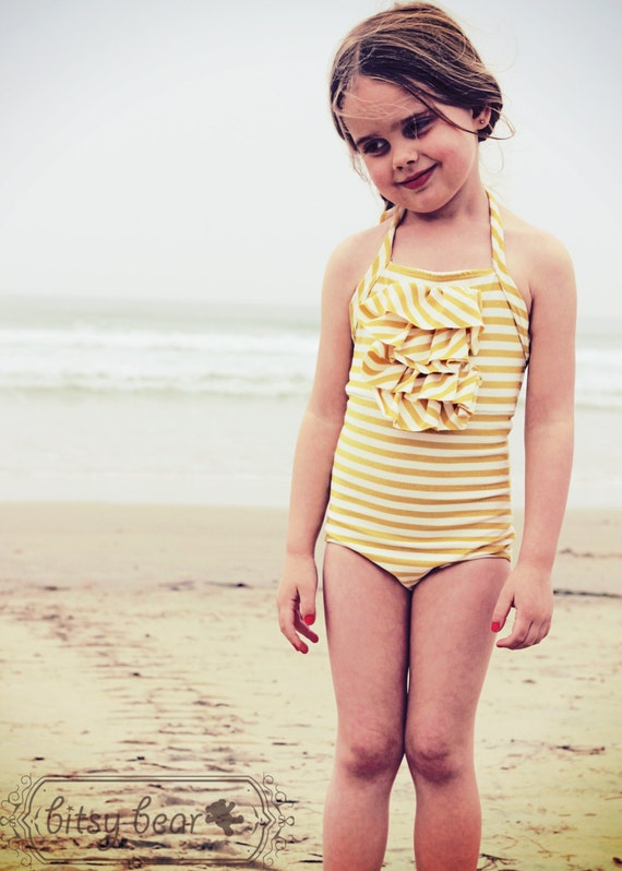 SALE- Golden Halter Swimsuit for toddler and girl