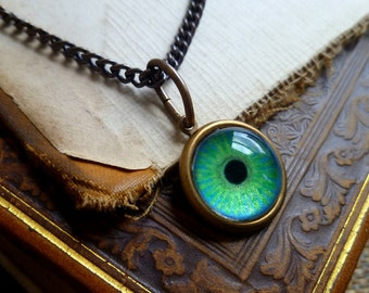 Iris Charm - Emerald / Medium -- Brass Eye Pendant