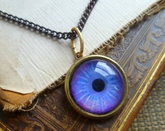 Iris Charm -- Violet / Large -- Brass Eye Pendant