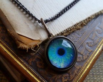 Iris Charm - Aquamarine / Medium -- Brass Eye Pendant