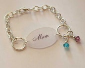 Mom Bracelet with One birthstone crystal pendant - You Pick The Color