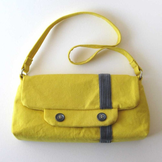 SALE - The Token Bag in Yellow with Gray - Eco-friendly - 30008