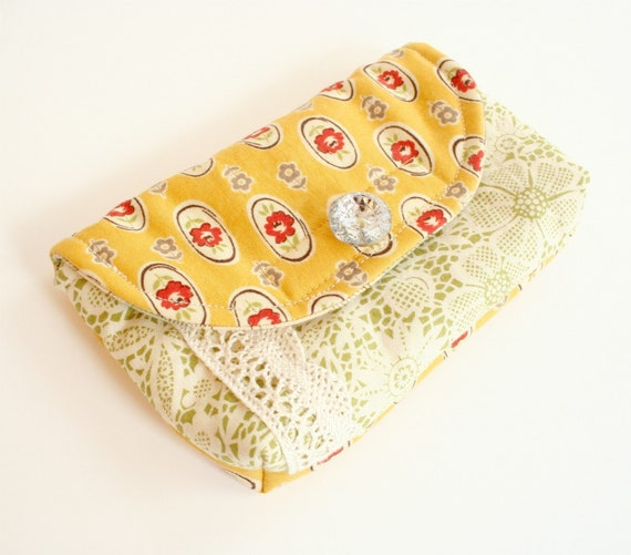 Little Yellow Floral Padded Pouch Small Camera Case Sparkly Button Velcro Closure Phone Case Red Faux Lace