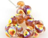 10 Fire Amber Teardrop Handmade Dichroic Lampwork Beads - 10mm (22013)