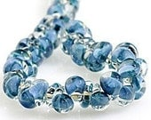 5 Teal Blue Sky Teardrop Handmade Lampwork Glass Beads - 10mm (21263)