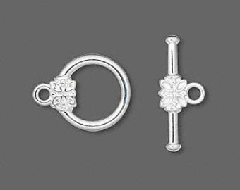 24 Silver-plated Toggle Clasps with Flower Medallion, 16mm x 14mm