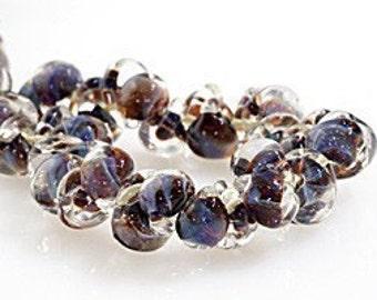 10 Evening Sky Teardrop Handmade Lampwork Beads - 10mm (21110)