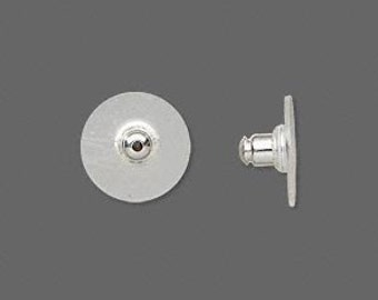 24 Silver-plated Comfort Disk Earring Backs -- extra support for heavy earrings