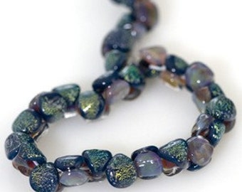 5 Teal Dichroic Double Sided Handmade Lampwork Beads (22165)