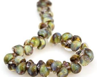 10 Morning Pearl Teardrop Handmade Lampwork Beads - 10mm (22123)