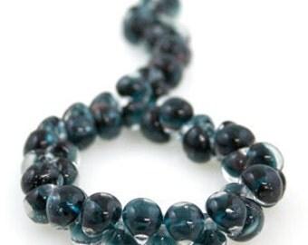 10 Aquamarine Teardrop Handmade Lampwork Beads - 10mm (22120)