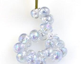10 Hint-of-Lavender Luster Teardrop Handmade Lampwork Beads - 10mm (22255)