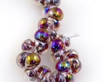 5 Crimson Gold Luster Teardrop Handmade Lampwork Beads - 10mm (22256)