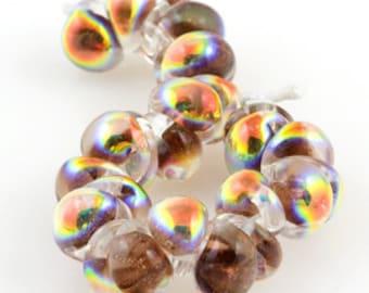 5 Handmade Teardrop Lampwork Glass 13 mm Boro Beads, Metallic series: Rustic Brown (22012)