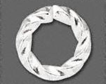 50 Fancy Twist Silver-plated Jumprings - 6.0mm 16 gauge