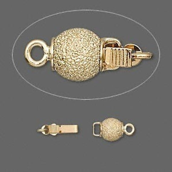 Gold Stardust Glitter Ball Pinch-tab Box Clasp - 6mm