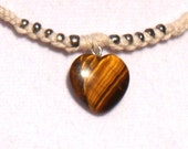 Hemp Necklace-- Tiger Iron Gemstone Heart Pendant