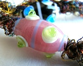 Key Fob Keychain-- Pink & Green Lampwork Glass in Sari Silk Macrame