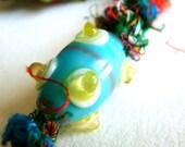 Key Fob Keychain-- Turquoise & Yellow Lampwork Glass in Sari Silk Macrame