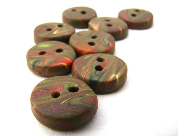 Small Buttons-- Red, Orange & Green