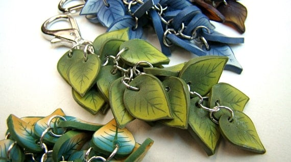 Purse Jewelry-- Army Green Leaves