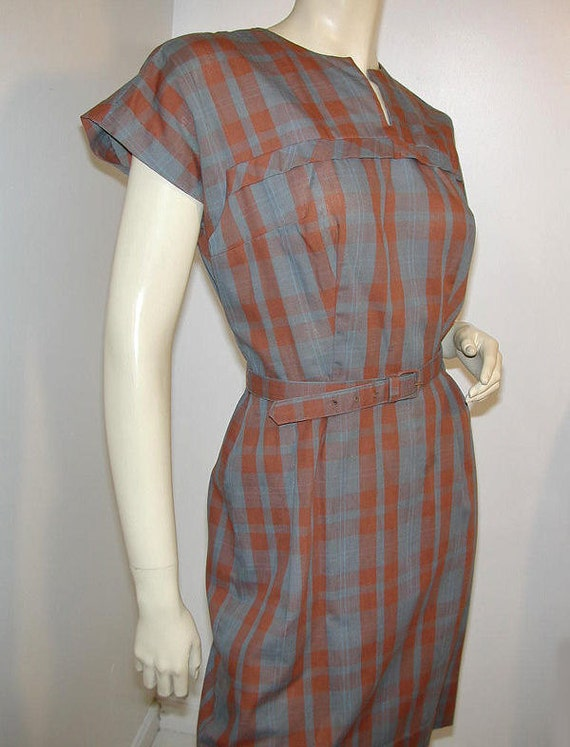 Cute Brown Gray Plaid 60's Carol Brent Dress and Jacket S/M