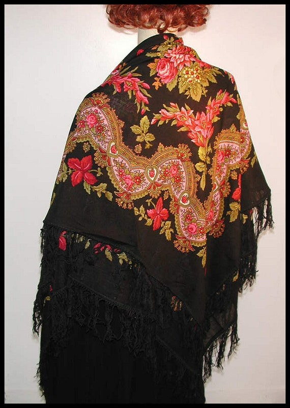 Vintage Russian Wool Shawl Piano Scarf Red By Morningglorious