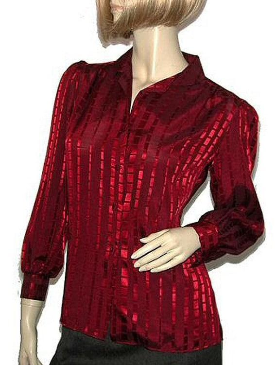 Vintage 80s Wine Maroon Red Satin Secretary Blouse Shirt S B39